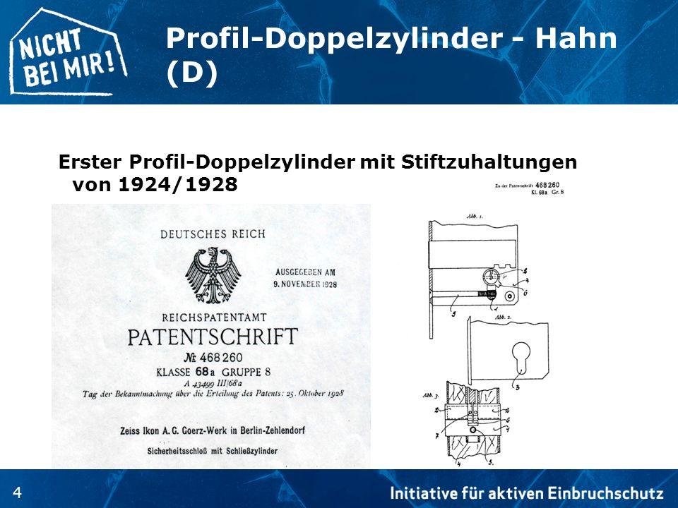 Profil-Doppelzylinder - Hahn (D)