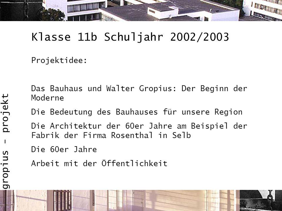 Klasse 11b Schuljahr 2002/2003 Projektidee:
