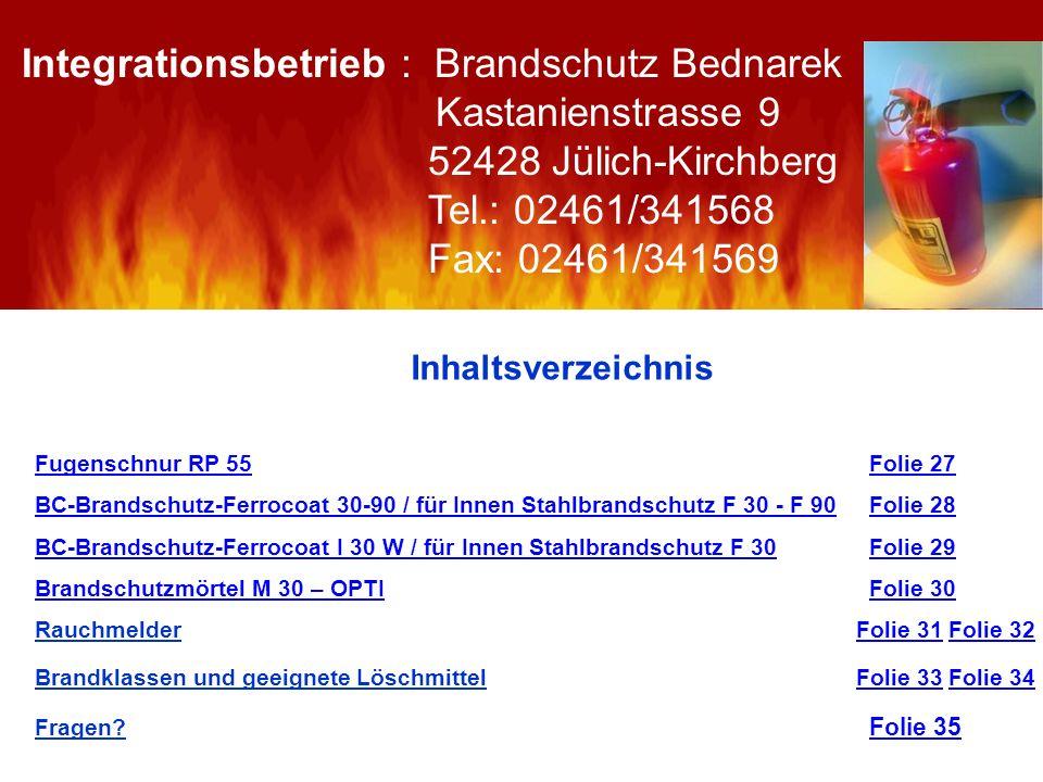 Integrationsbetrieb : Brandschutz Bednarek Kastanienstrasse 9