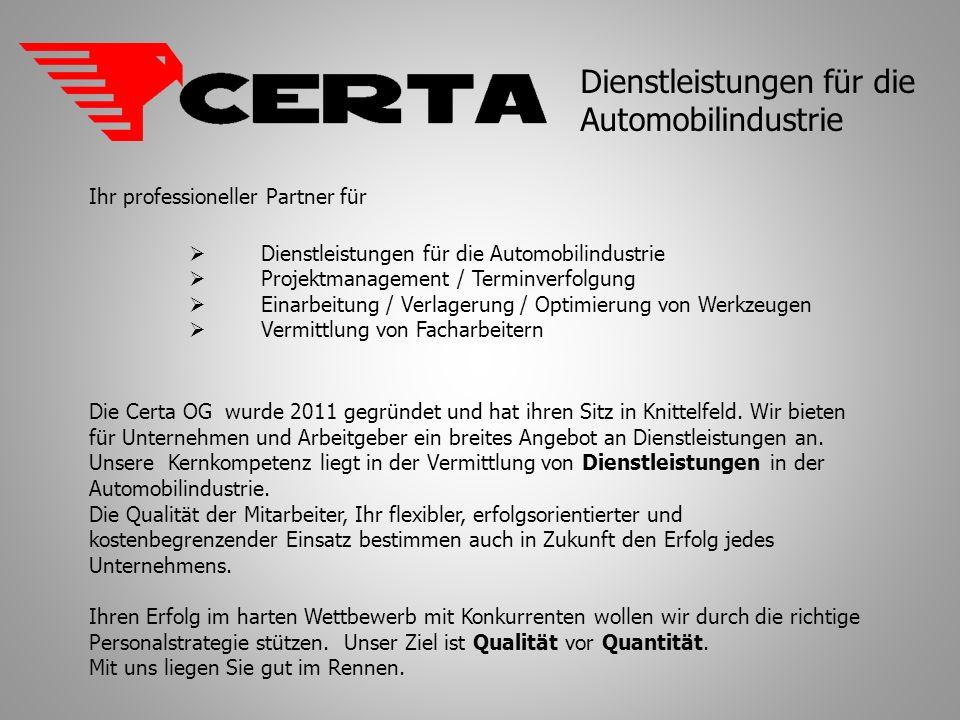 Dienstleistungen für die Automobilindustrie
