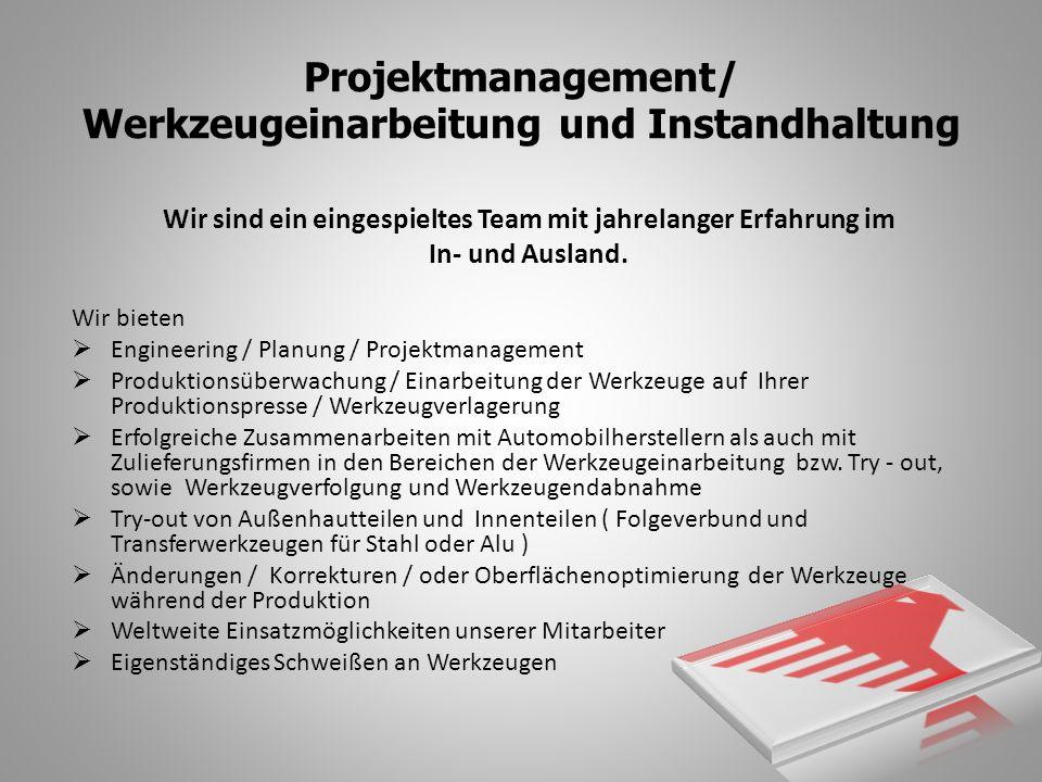 Projektmanagement/ Werkzeugeinarbeitung und Instandhaltung