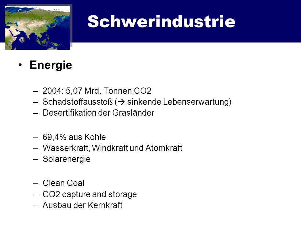 Schwerindustrie Energie 2004: 5,07 Mrd. Tonnen CO2