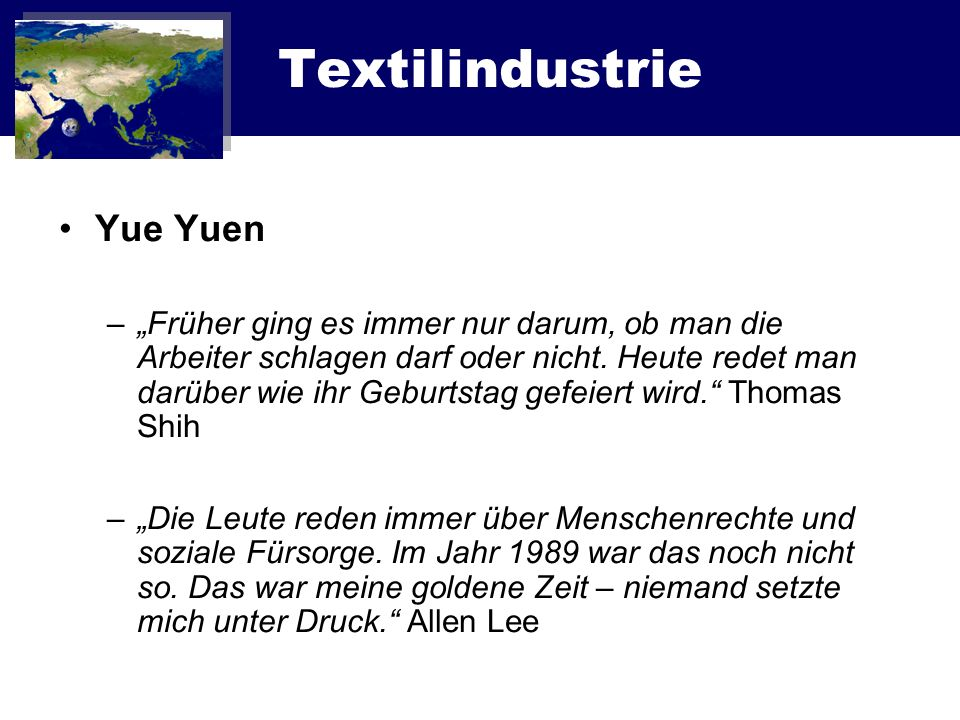 Textilindustrie Yue Yuen