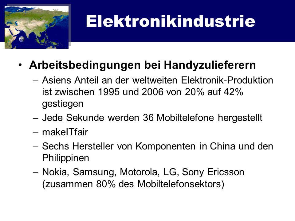 Elektronikindustrie Arbeitsbedingungen bei Handyzulieferern