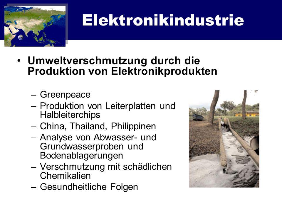 Elektronikindustrie Umweltverschmutzung durch die Produktion von Elektronikprodukten. Greenpeace. Produktion von Leiterplatten und Halbleiterchips.