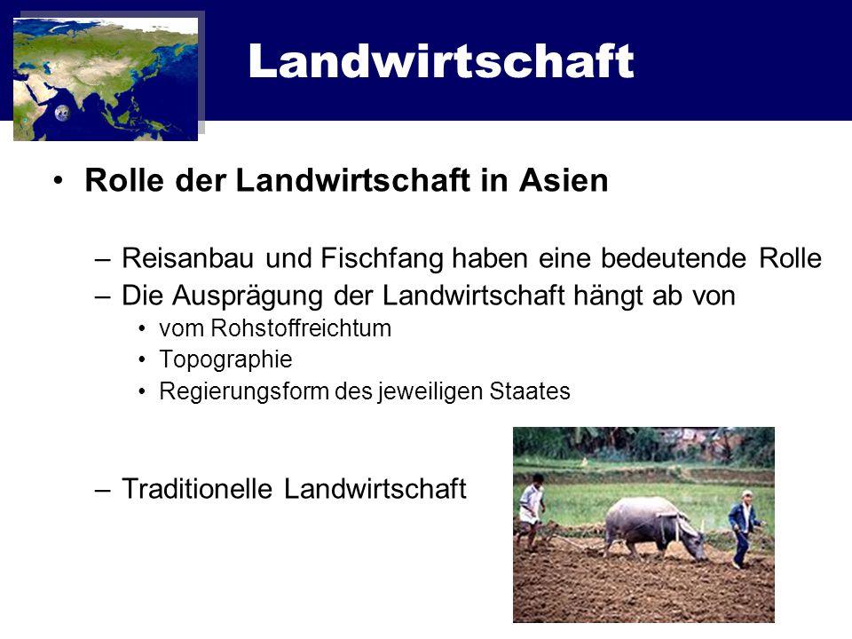 Landwirtschaft Rolle der Landwirtschaft in Asien