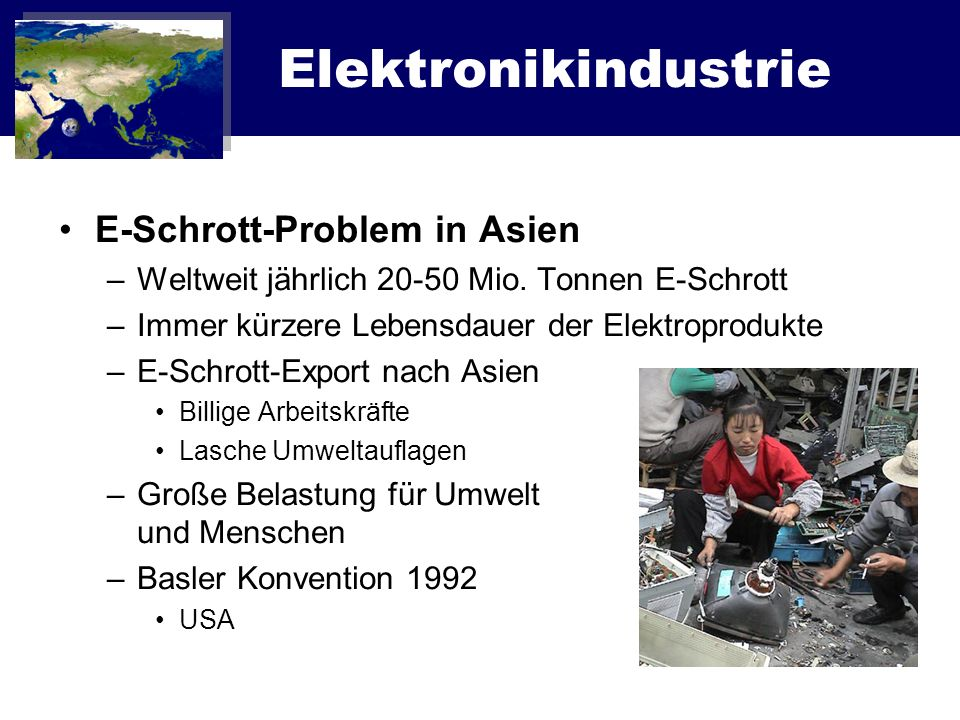Elektronikindustrie E-Schrott-Problem in Asien