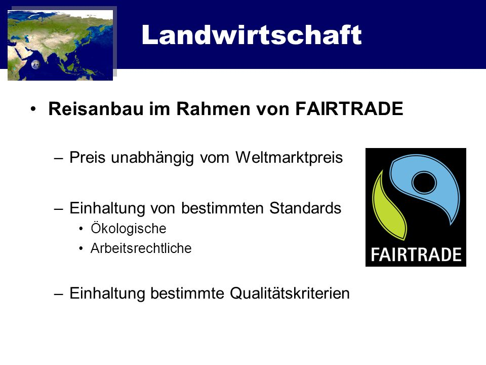 Landwirtschaft Reisanbau im Rahmen von FAIRTRADE