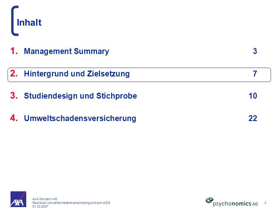 Inhalt Management Summary 3 Hintergrund und Zielsetzung 7