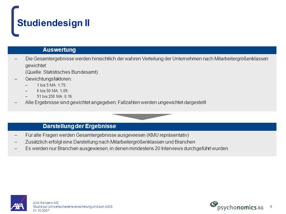 Studiendesign II Auswertung Darstellung der Ergebnisse