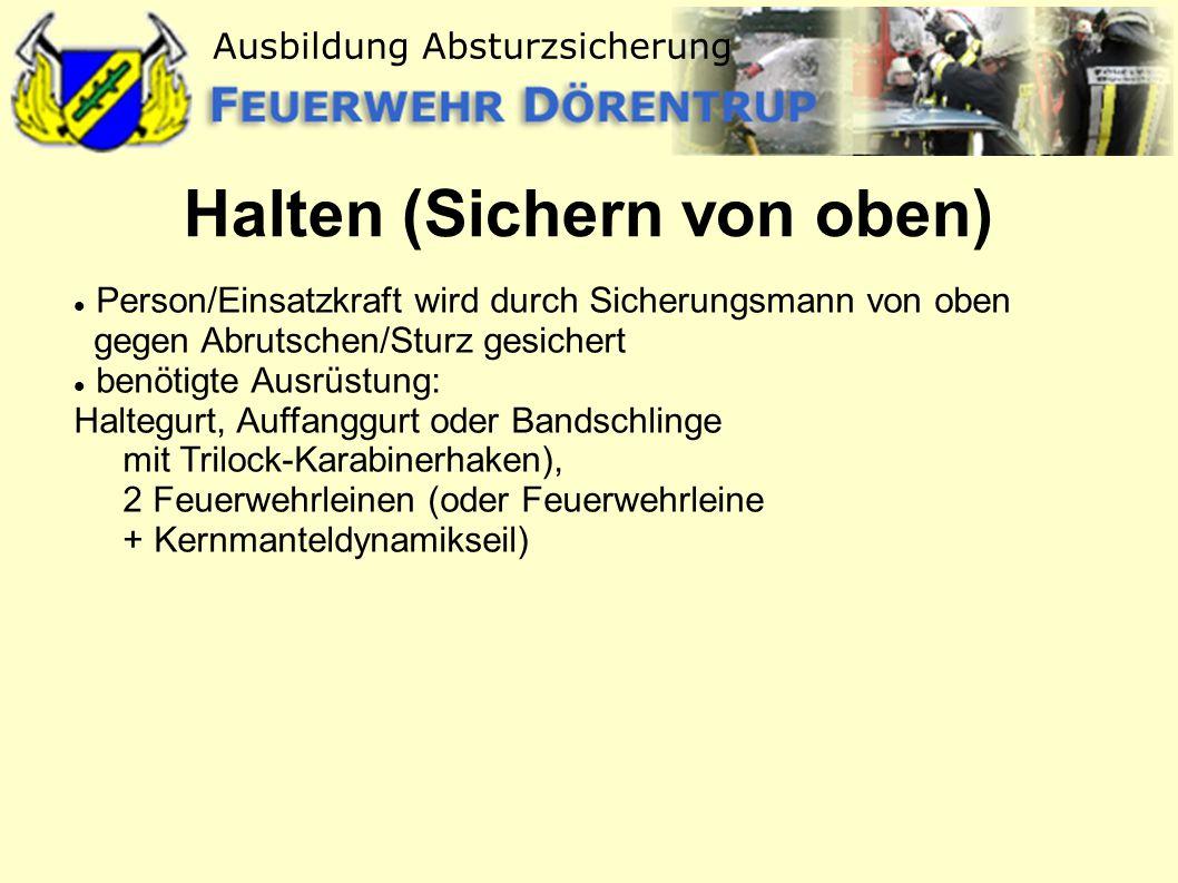 Halten (Sichern von oben)