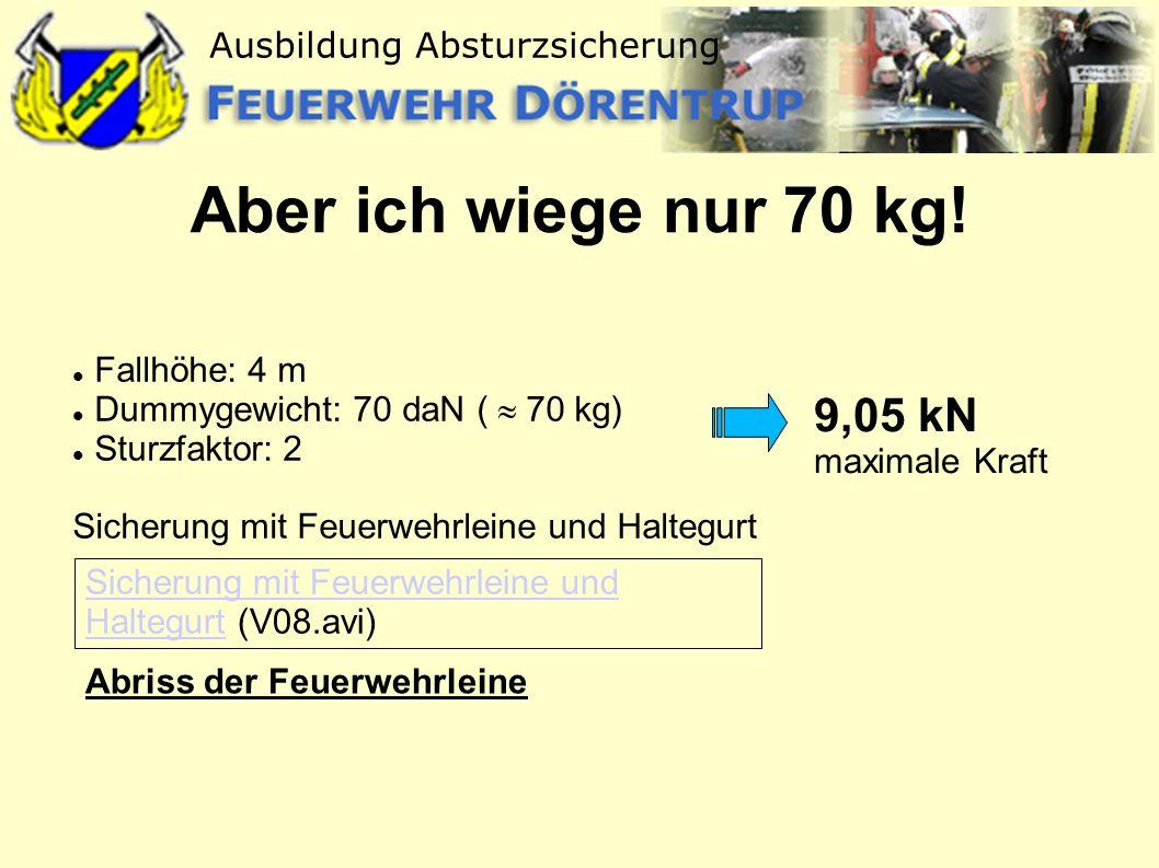 Aber ich wiege nur 70 kg! 9,05 kN maximale Kraft Fallhöhe: 4 m