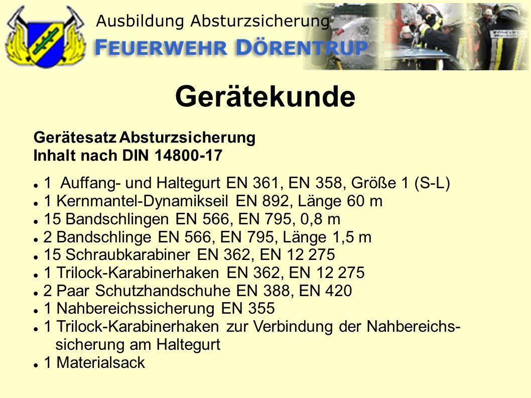 Gerätekunde Gerätesatz Absturzsicherung Inhalt nach DIN 14800-17