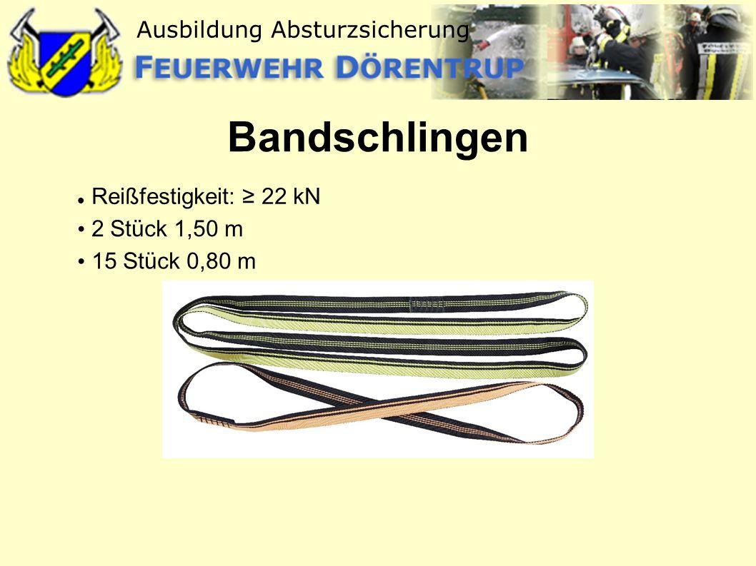 Bandschlingen Reißfestigkeit: ≥ 22 kN 2 Stück 1,50 m 15 Stück 0,80 m