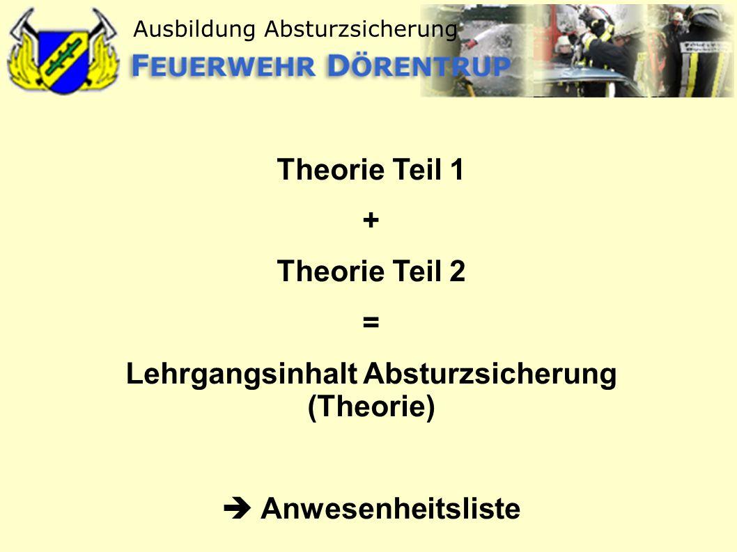 Lehrgangsinhalt Absturzsicherung (Theorie)