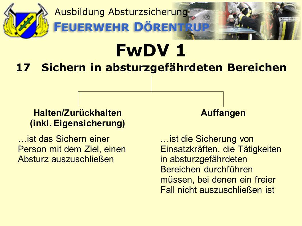 FwDV 1 17 Sichern in absturzgefährdeten Bereichen
