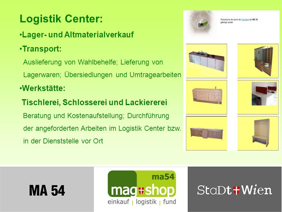 Logistik Center: Lager- und Altmaterialverkauf Transport: Werkstätte: