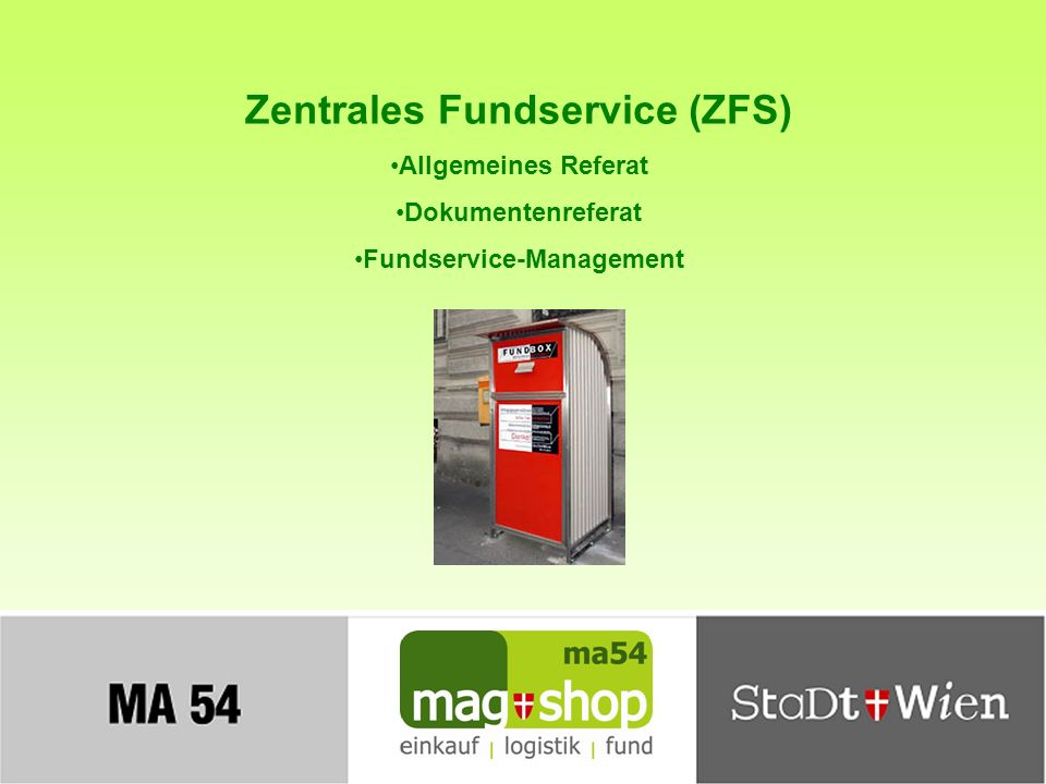 Zentrales Fundservice (ZFS) Fundservice-Management
