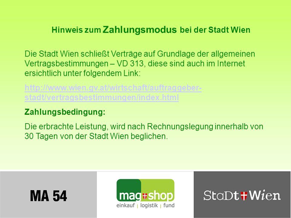 Hinweis zum Zahlungsmodus bei der Stadt Wien