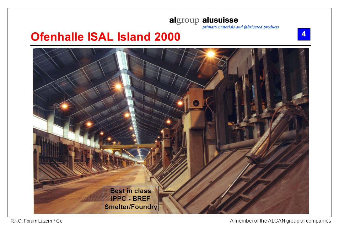 Ofenhalle ISAL Island 2000 4 Best in class IPPC - BREF Smelter/Foundry