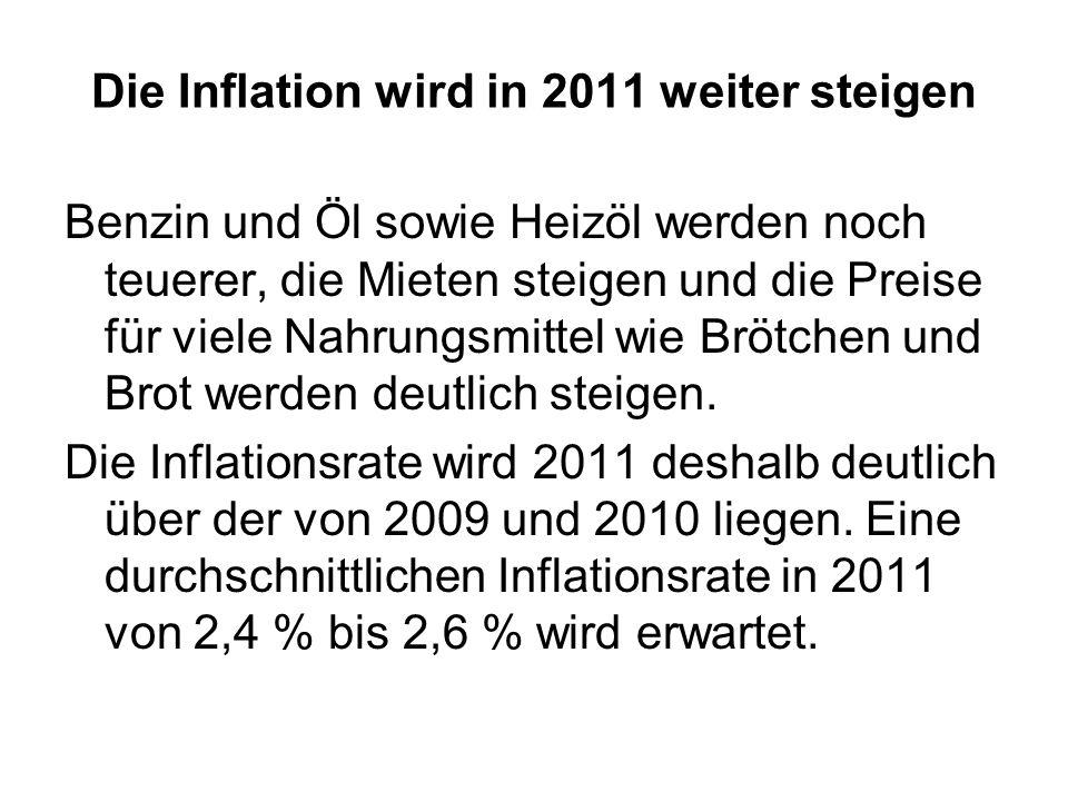 Die Inflation wird in 2011 weiter steigen