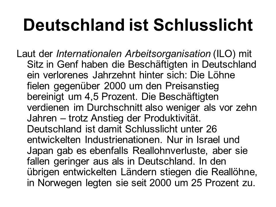 Deutschland ist Schlusslicht
