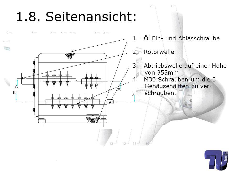 1.8. Seitenansicht: Öl Ein- und Ablasschraube Rotorwelle