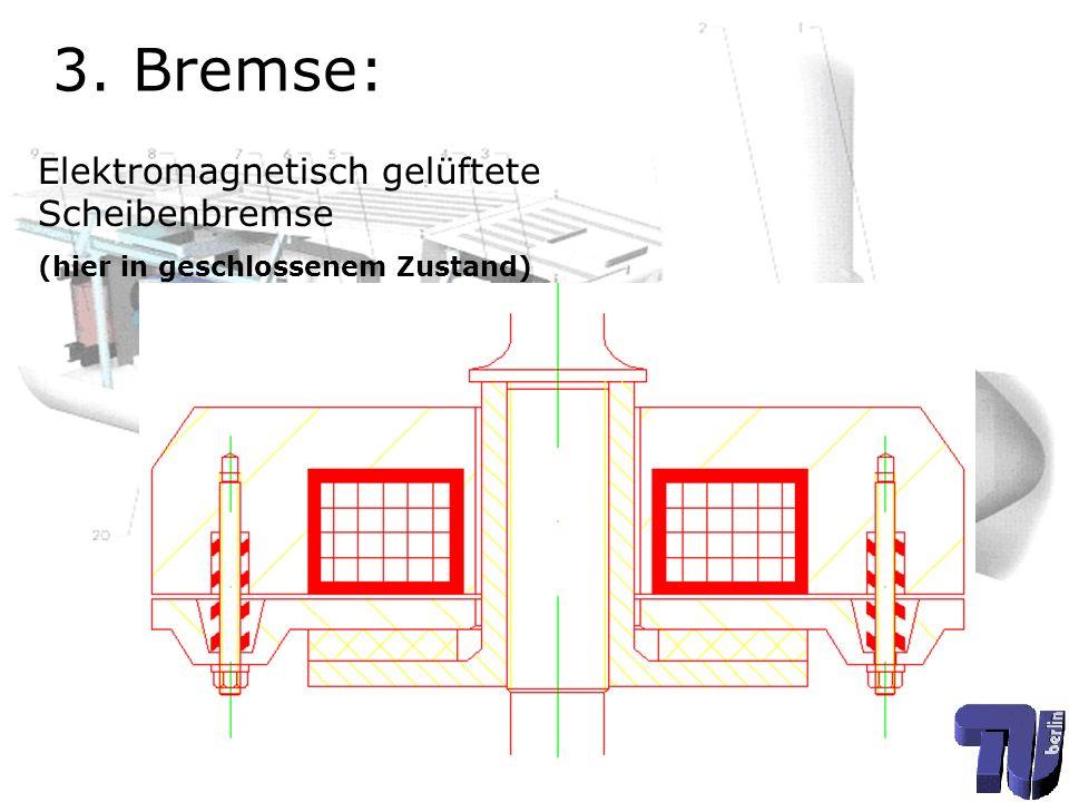 3. Bremse: Elektromagnetisch gelüftete Scheibenbremse