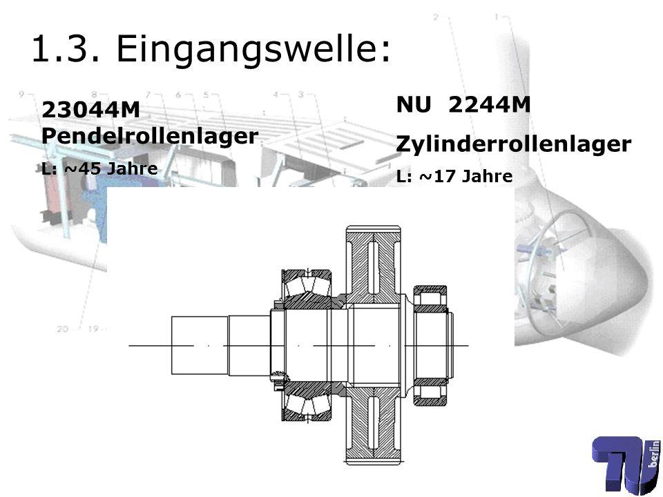 1.3. Eingangswelle: NU 2244M 23044M Pendelrollenlager