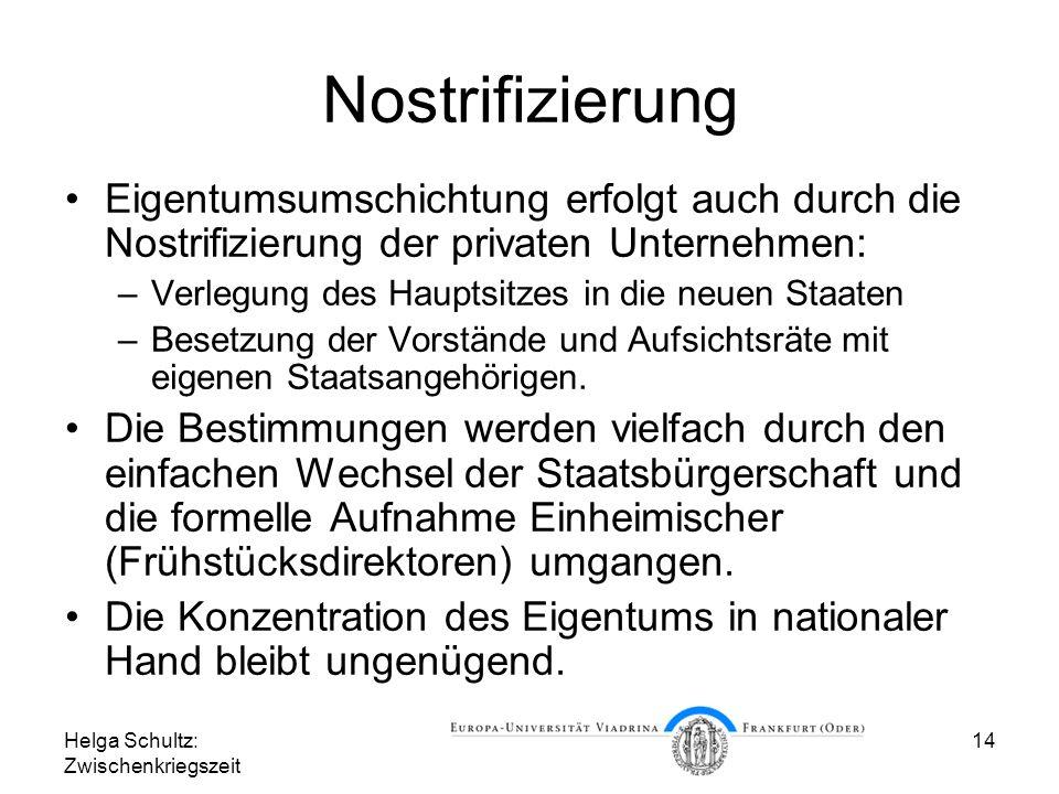 Nostrifizierung Eigentumsumschichtung erfolgt auch durch die Nostrifizierung der privaten Unternehmen: