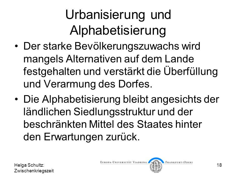 Urbanisierung und Alphabetisierung
