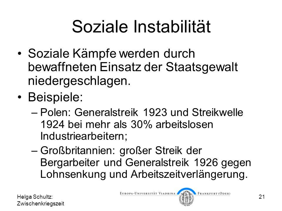 Soziale Instabilität Soziale Kämpfe werden durch bewaffneten Einsatz der Staatsgewalt niedergeschlagen.