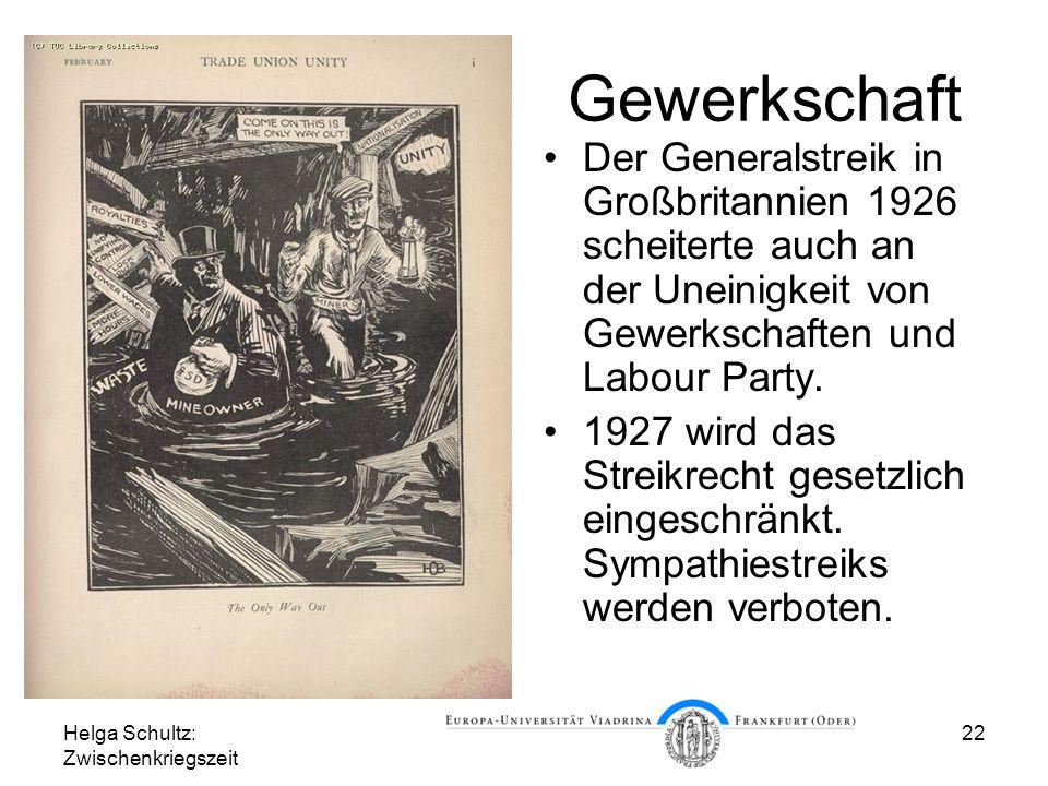 Gewerkschaft Der Generalstreik in Großbritannien 1926 scheiterte auch an der Uneinigkeit von Gewerkschaften und Labour Party.