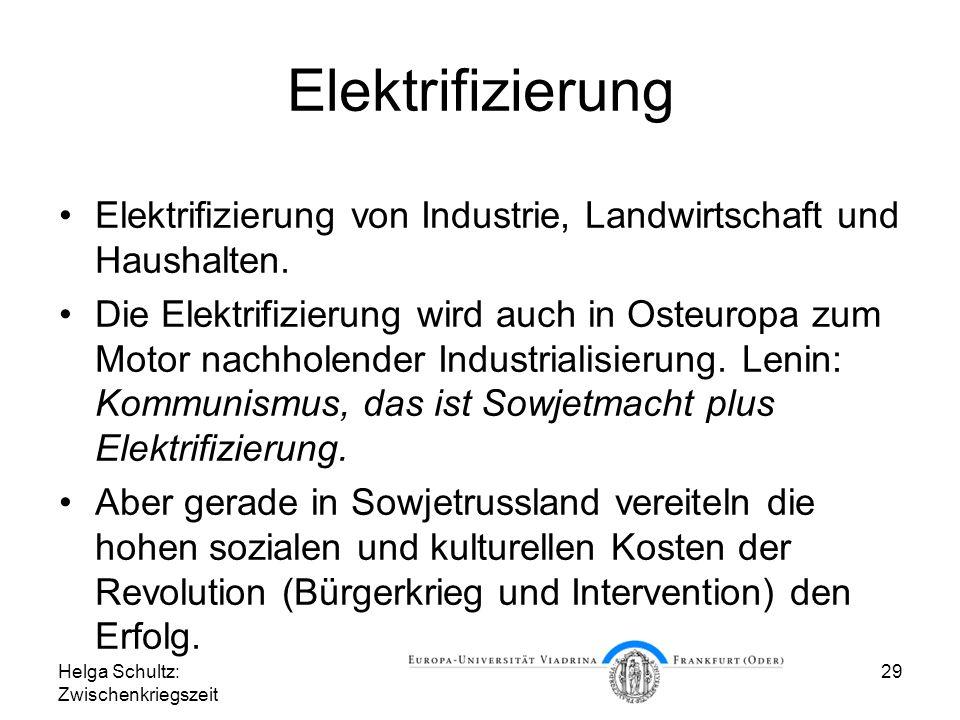 Elektrifizierung Elektrifizierung von Industrie, Landwirtschaft und Haushalten.