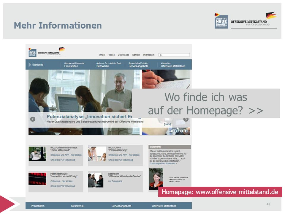 Wo finde ich was auf der Homepage >>