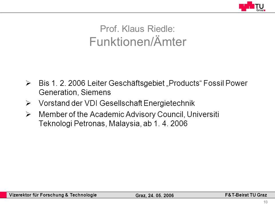 Prof. Klaus Riedle: Funktionen/Ämter