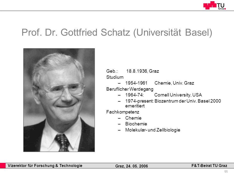 Prof. Dr. Gottfried Schatz (Universität Basel)