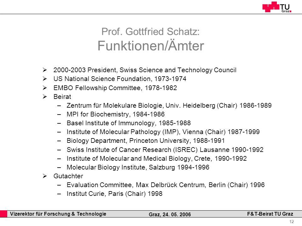 Prof. Gottfried Schatz: Funktionen/Ämter