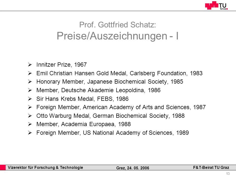 Prof. Gottfried Schatz: Preise/Auszeichnungen - I