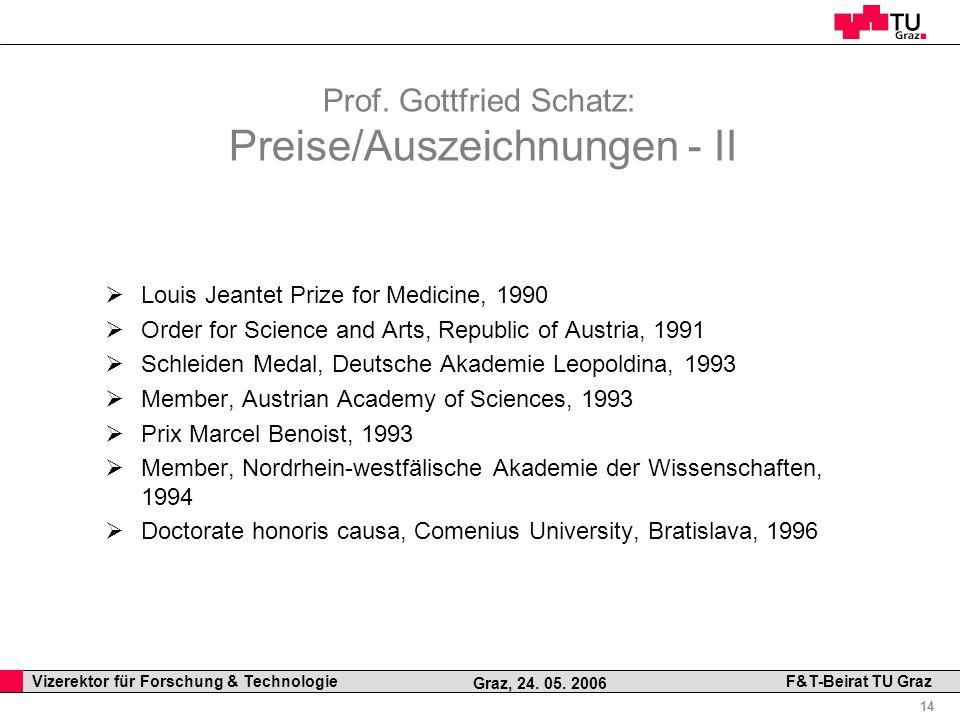 Prof. Gottfried Schatz: Preise/Auszeichnungen - II
