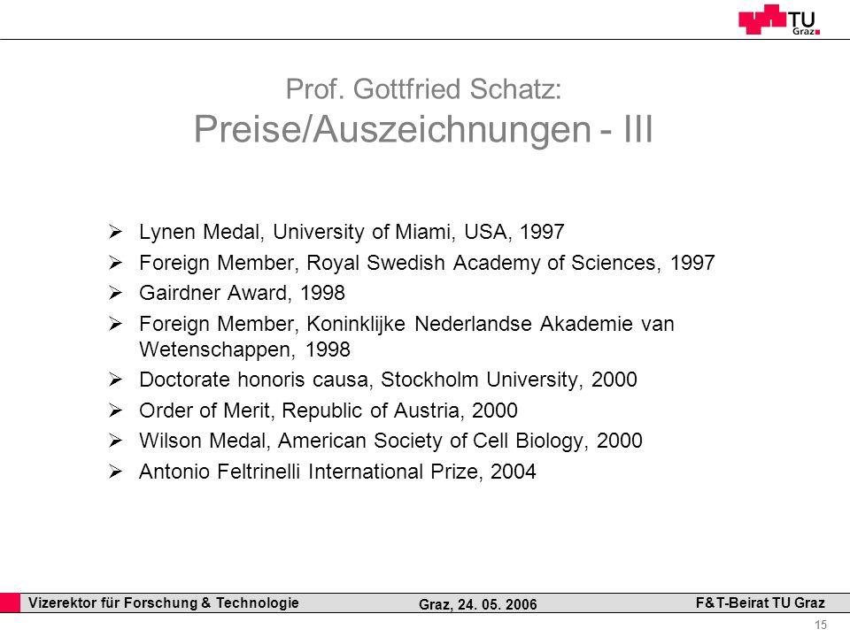 Prof. Gottfried Schatz: Preise/Auszeichnungen - III