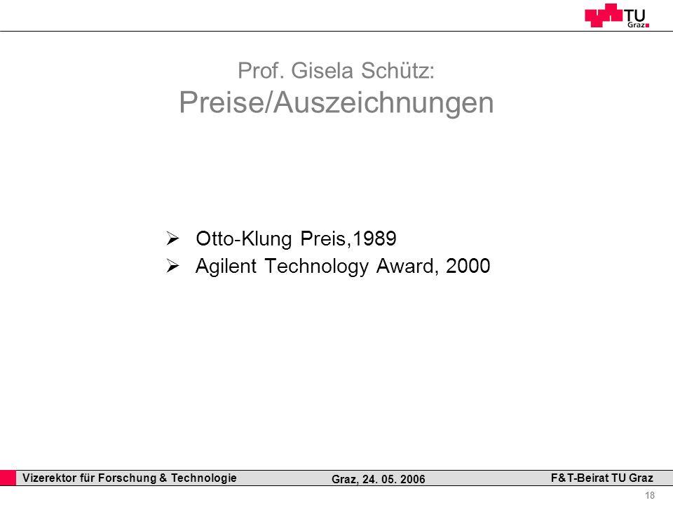 Prof. Gisela Schütz: Preise/Auszeichnungen