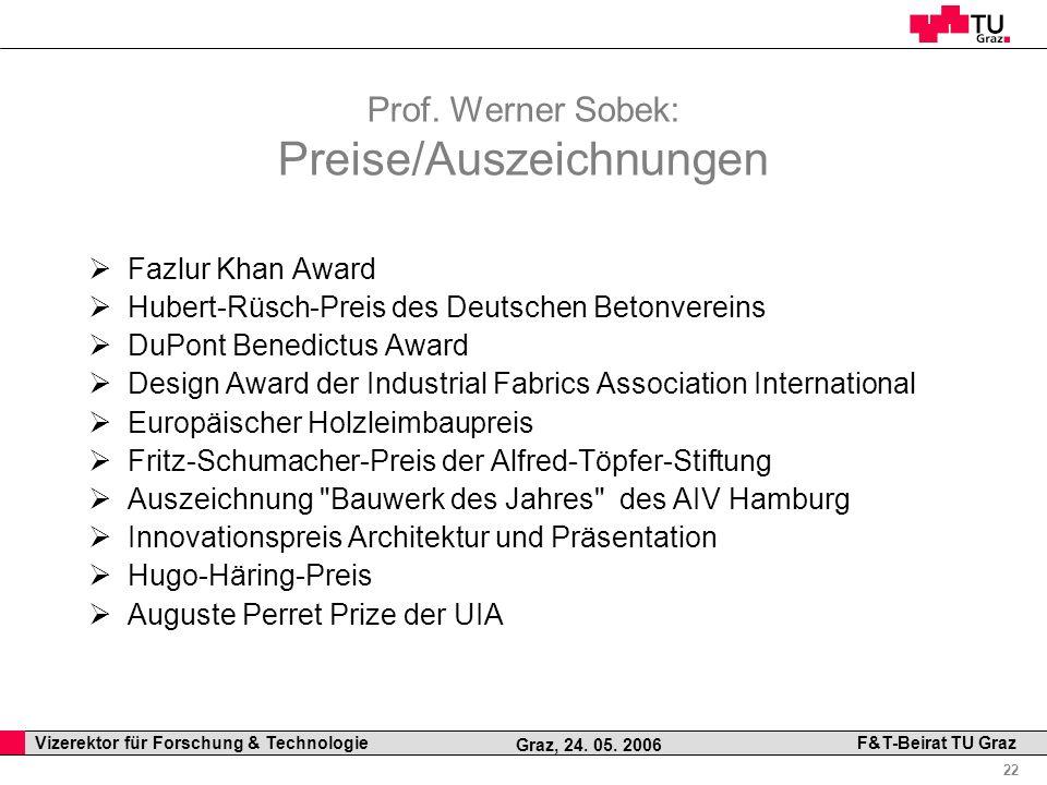 Prof. Werner Sobek: Preise/Auszeichnungen