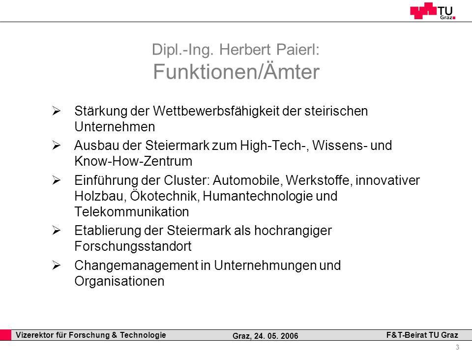 Dipl.-Ing. Herbert Paierl: Funktionen/Ämter