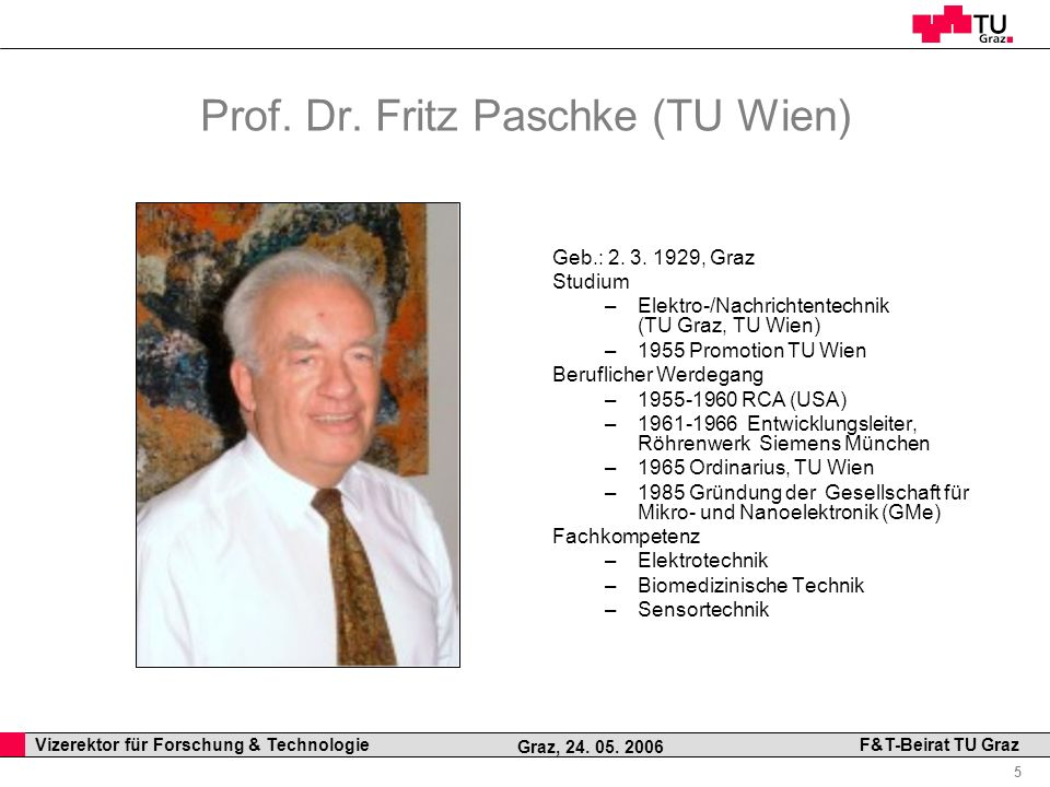 Prof. Dr. Fritz Paschke (TU Wien)