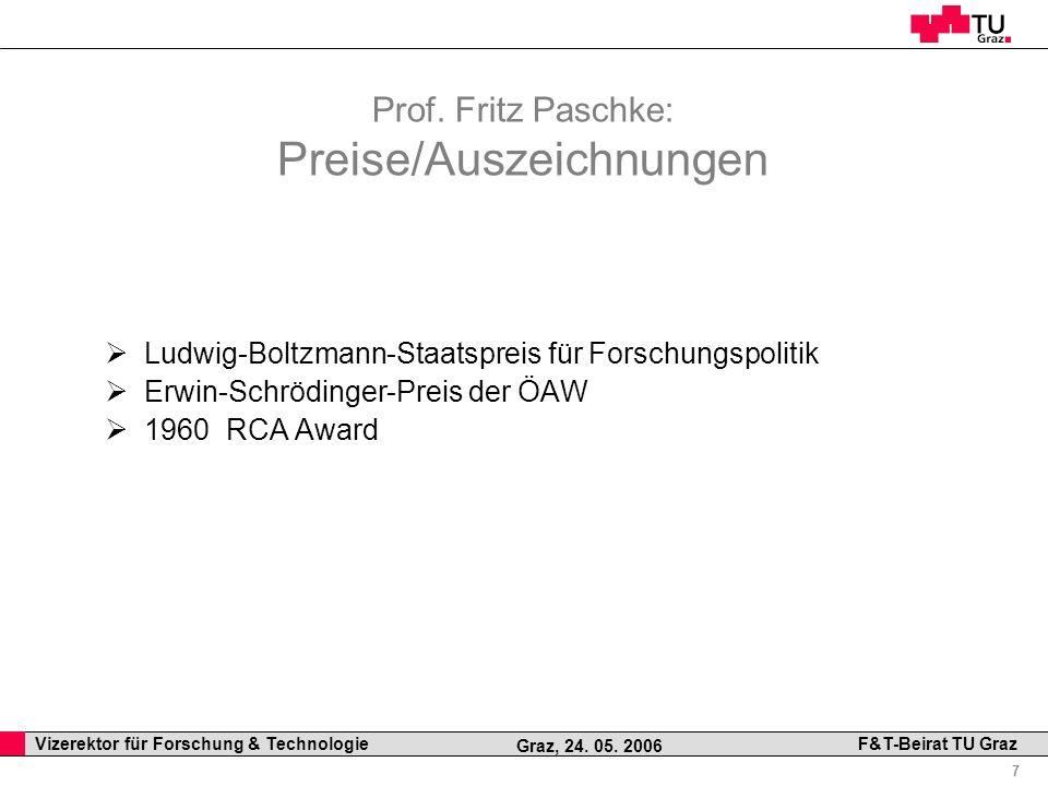 Prof. Fritz Paschke: Preise/Auszeichnungen