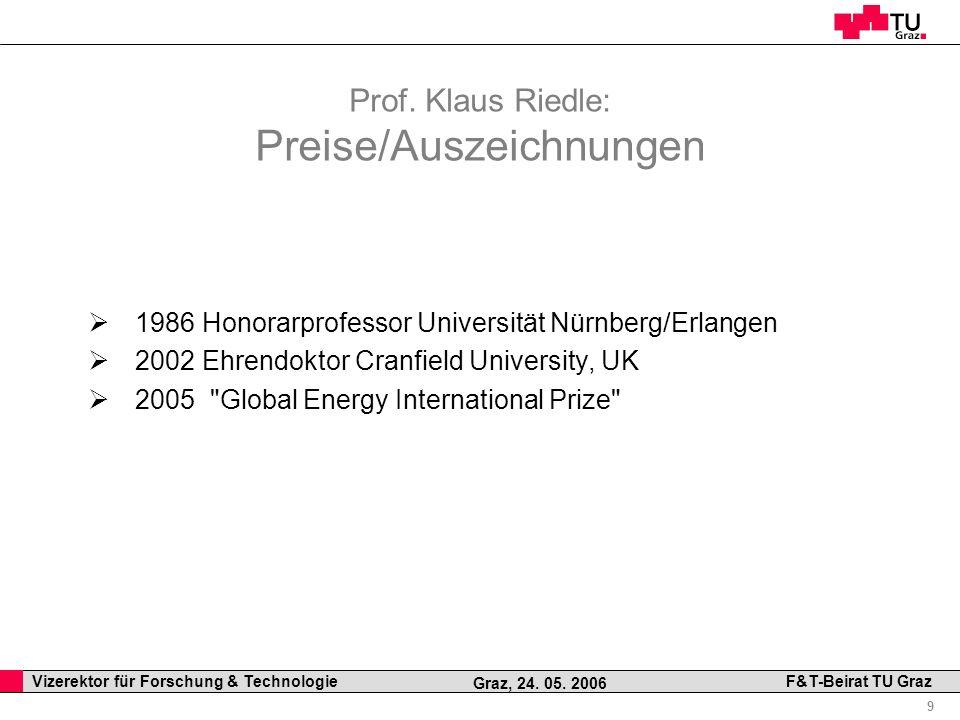 Prof. Klaus Riedle: Preise/Auszeichnungen