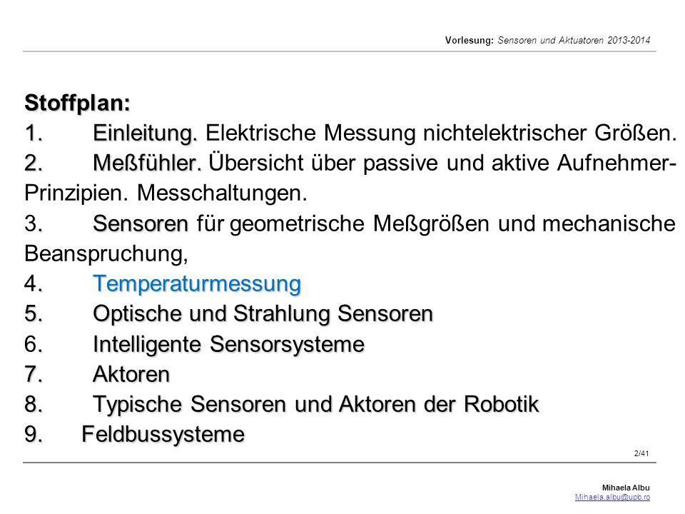 Stoffplan: 1. Einleitung. Elektrische Messung nichtelektrischer Größen