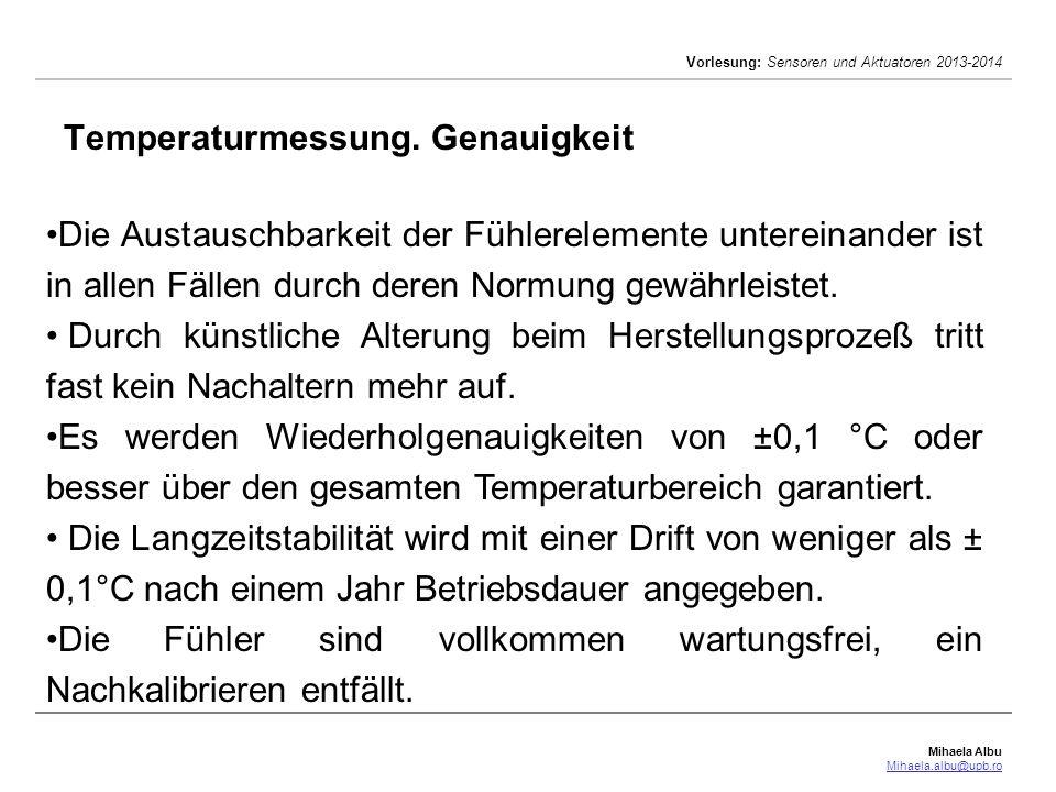Temperaturmessung. Genauigkeit