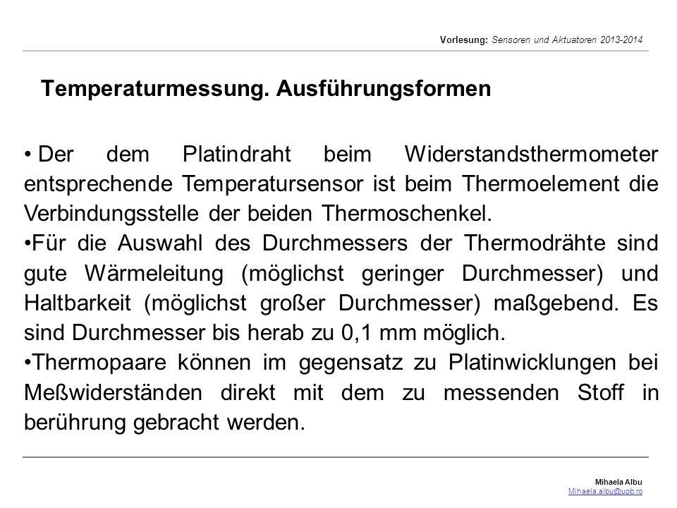 Temperaturmessung. Ausführungsformen